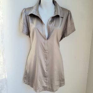 BCBGMaxAzria silk champagne blouse